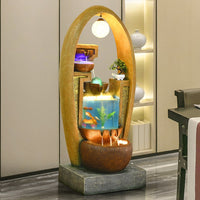 European wall water fountain home hotel decoration office creative fish tank decoration crafts Rattan led chandelier aquarium