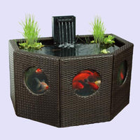 Patio Pond Lily Tub Octagon/Half Moon Rattan Wickerwork Panel Window Garden Water Feature Koi Oversize fish tank or Hydroponics