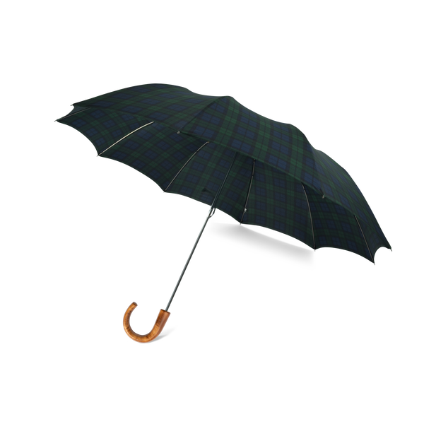 Telescopic Maple Crook Handle Fox Umbrella - Black Watch Tartan