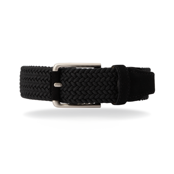 Braided Belt - Black/Black Suede