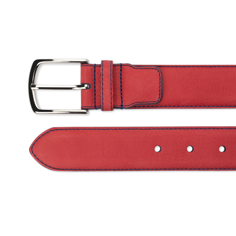 Nubuck Belt - Red Nubuck/Blue Stitch
