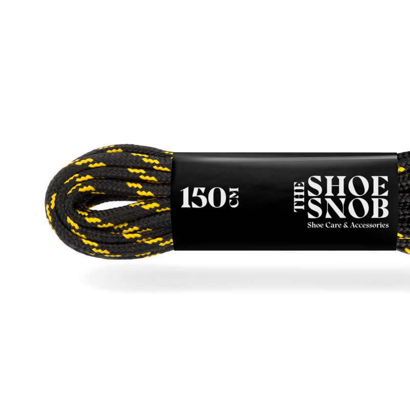 150cm Round Hiking/Trekking Boot Laces - Black/Yellow - The Shoe Snob