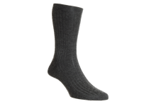 Load image into Gallery viewer, Dark Grey Colour Royal Collection Mid Calf Socks | Made from 100% cashmere
