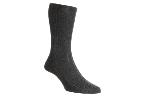 Dark Grey Colour Royal Collection Mid Calf Socks | Made from 100% cashmere