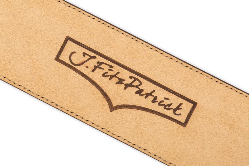 J.FitzPatrick Logo on Caramel Colour Calf Leather Belt for Men
