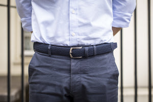Braided Belt - Navy/Navy Suede