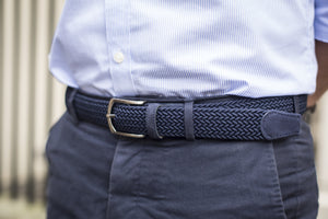 Men Wearing Navy/Navy Suede Braided Belts