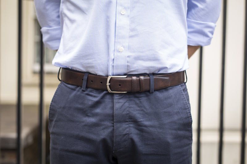 Men Wearing Dark Brown Museum Calf Leather Belt for Men