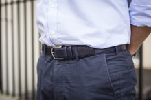 Load image into Gallery viewer, Men Wearing Navy Museum Calf - Leather Belt for Men
