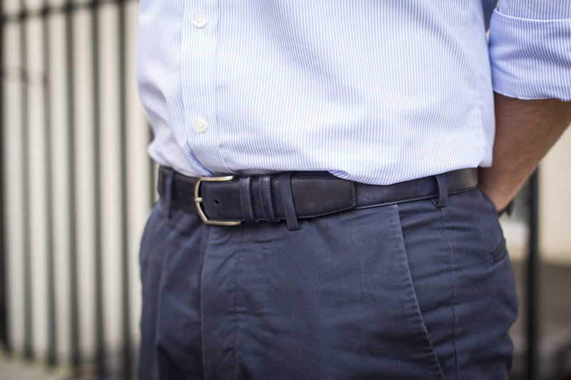 Men Wearing Navy Museum Calf - Leather Belt for Men
