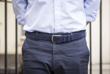 Men Wearing Dark Blue - Men Suede Belt