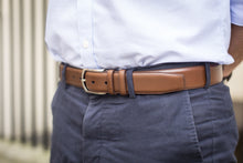 Load image into Gallery viewer, Men Wearing Caramel Colour Calf Leather Belt for Men