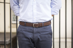 Men Wearing Chocolate Brown - Men Suede Belt