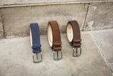 Dark Blue, Dark & Light Brown Suede Belts for Men