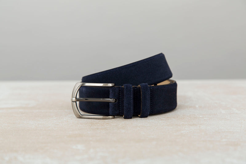 Dark Blue - Men Suede Belt | J.FitzPatrick Belts For Men