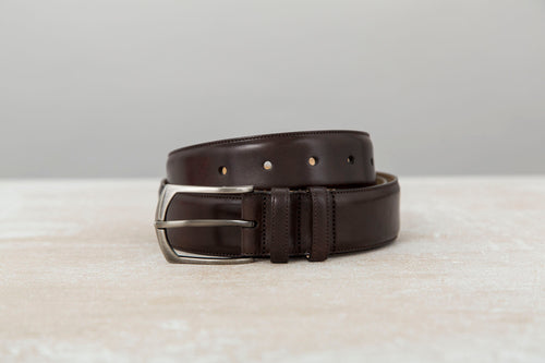 Dark Brown Museum Calf Leather Belt for Men