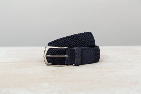Braided Belt - Navy/Navy Suede - 42''