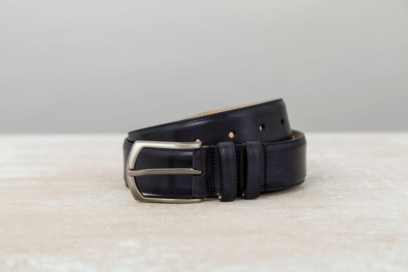 Navy Museum Calf - Leather Belt for Men