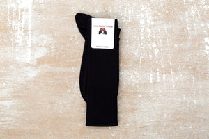 Egyptian Cotton Lisle Knee-High Socks - Black