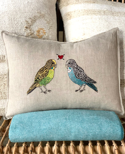 Parakeet Love Pillow