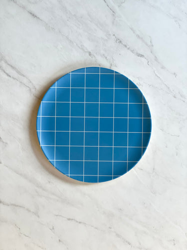 Blue Grid Bamboo Side Plate