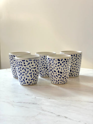 Blue & White Dashes Tumbler