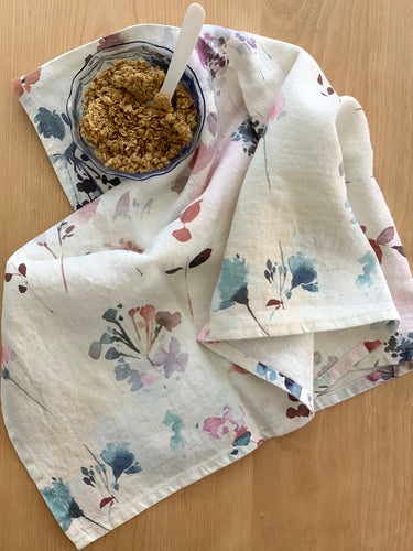 Watercolor Floral Tea Towel