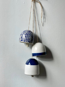 Navy and White Ceramic Bells