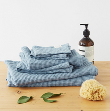 Load image into Gallery viewer, Dusty Blue Linen Waffle Towels