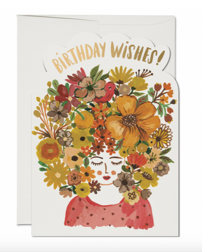 Floral Tresses Birthday Wishes Card