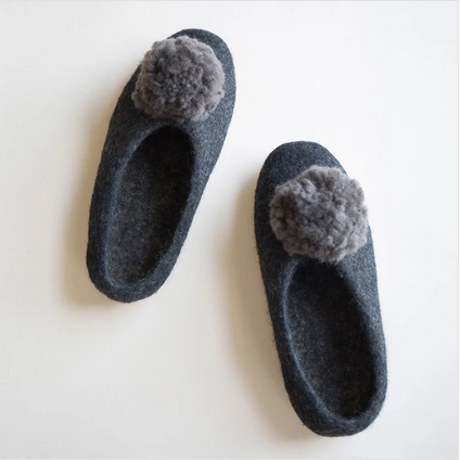 Pom Pom Slippers Black