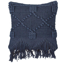 Load image into Gallery viewer, Textured Fringe Pillow, Navy