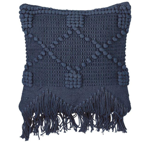 Textured Fringe Pillow, Navy