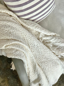 Cream Waffle Knit Throw