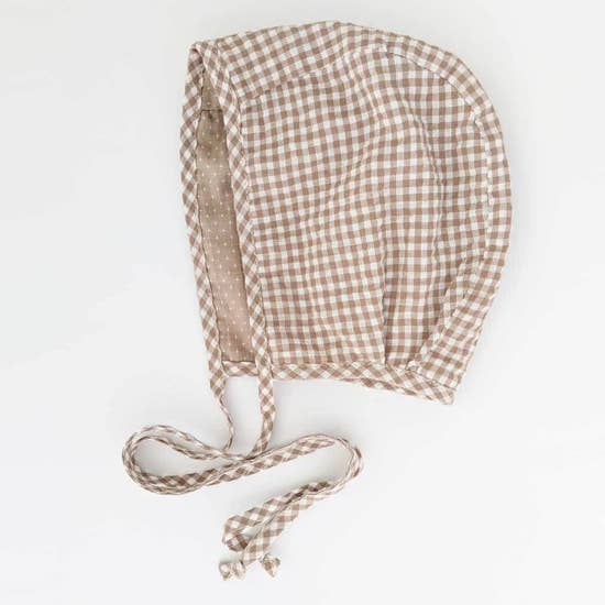 Latte Gingham Reversible Bonnet