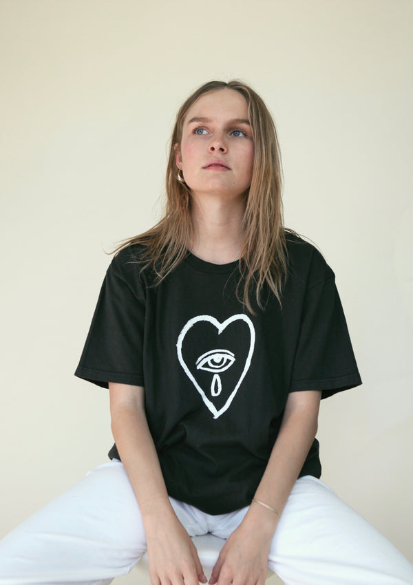 'Heart Breaker' Washed Black Art T-Shirt