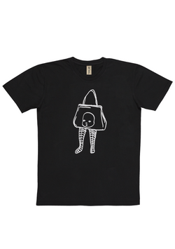 'Baby Purse' Washed Black Art T-Shirt
