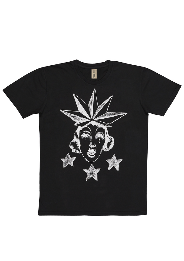 'Drag Star' Washed Black Art T-Shirt