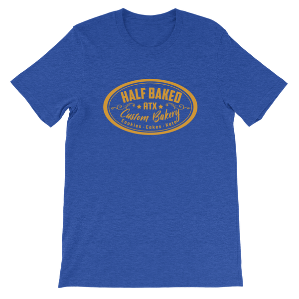 Half Baked ATX - Short-Sleeve Unisex T-Shirt (Orange / Blue)