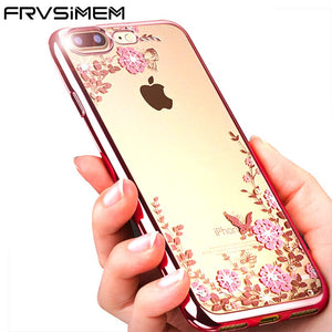 FRVSIMEM étui pour iPhone X étui Transparent pour iPhone 8 7 6 6 s Plus strass Transparent doux TPU - lastage.fr