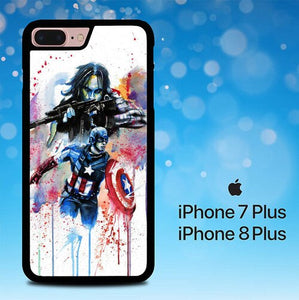 Captain America Watercolor E0329 coque iPhone 7 Plus , iPhone 8 Plus