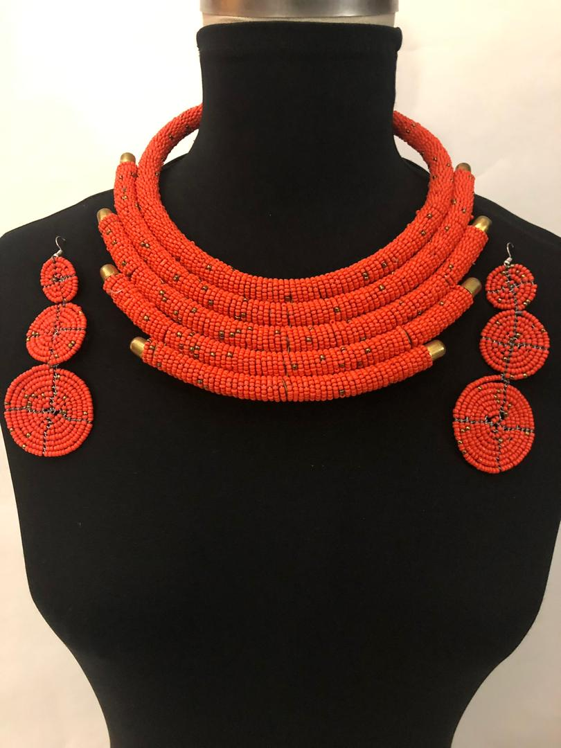 Nana Bead Necklace  and Earrings Set