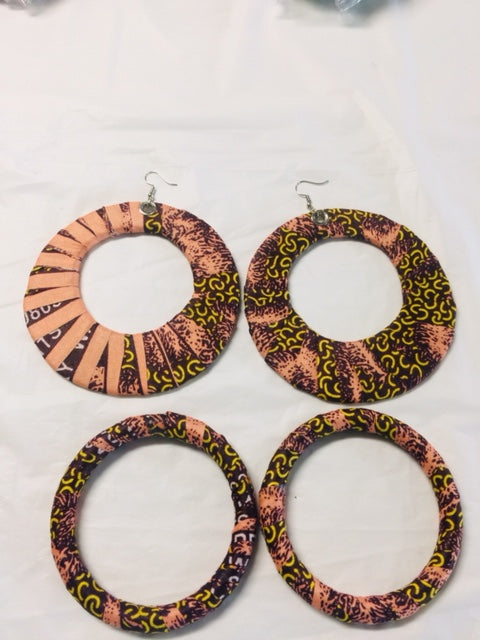 Fabric Earrings And Bangles Peach Set