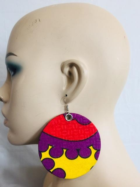 Fabric Earrings And Bangles Purple Set