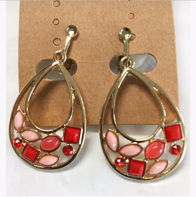 Stone Color Clips Earrings
