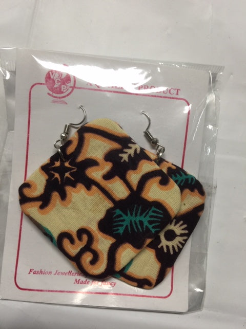 Fabric Square Earrings