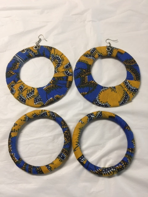 Fabric Earrings And Bangles Deep Blue Set