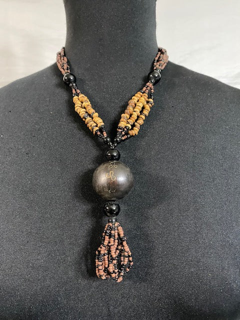 Brown Seed Ball Wood Necklace