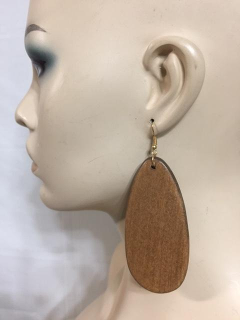 Oval Block Wood Earrings