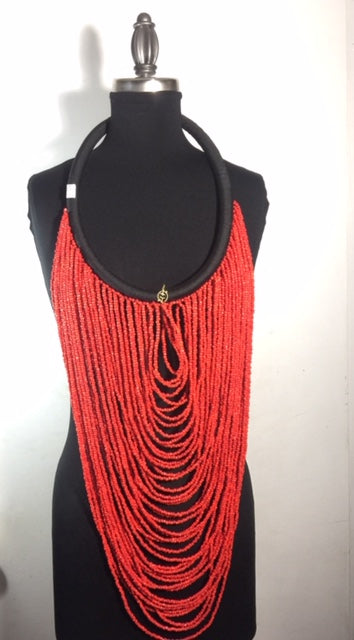 Waterfall Long Beaded Necklace